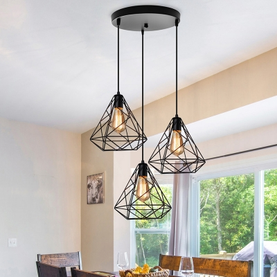 3 Lights Caged Chandelier Industrial Black Metal Ceiling Hanging Light Fixture for Dining Room with Round/Linear Canopy, HL574975