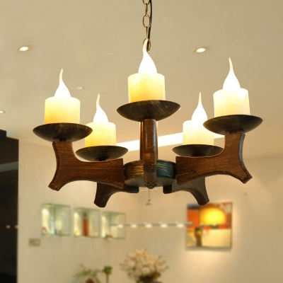 5-Light Candle Style Chandelier Pendant Lodge Metal and Wood Pendant Chandelier for Bedroom Living Room