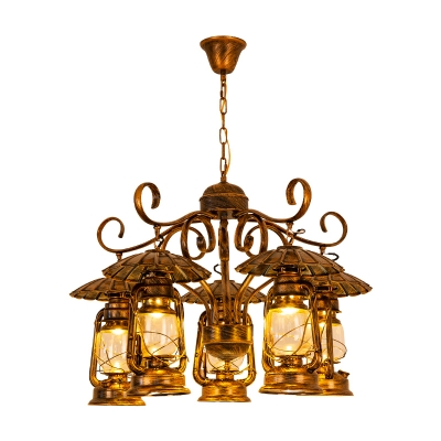 5 Lights Kerosene Ceiling Chandelier Industrial Brass Metal Pendant Lighting Fixture