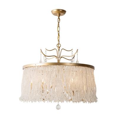 6/8 Lights Chandelier Light Fixture Circular Crystal Suspension Pendant in Gold for Living Room