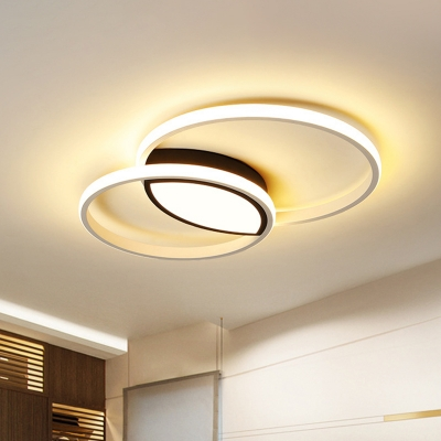 Acrylic Overlapping Flush Mount Lamp Simple Black-White LED Ceiling Lighting in Remote Control Stepless Dimming/Warm/White Light, 16