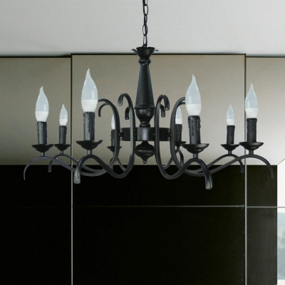Black Candle Chandelier Lamp Traditional Metal 3/5/6 Heads Living Room Ceiling Hanging Light