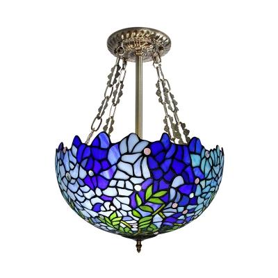 Blue Bowl Semi Flush Mount Light Mediterranean 3 Heads Handcrafted Art Glass Ceiling Fixture