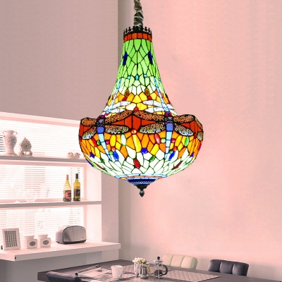 Blue/Green Dragonfly Chandelier Light Fixture Tiffany 16