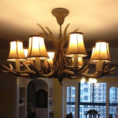 Brown 6/8 Heads Chandelier Lighting Traditionalism Resin Bell/Cylinder Pendant Ceiling Light for Living Room