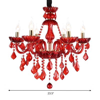 Candle/Cone Chandelier Lighting Modern Style Red Crystal 6/18 Lights Pendant Light Fixture with/without Shade, 23.5