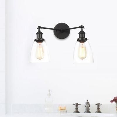 Clear Glass Tapered Wall Lamp Vintage 2 Lights Indoor Sconce Light Fixture in Black/Bronze/Brass, Black;bronze;brass;chrome;copper, HL575987