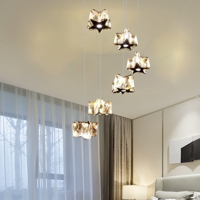 Contemporary LED Cluster Pendant Light Chrome Star Suspended Lighting Fixture with Clear/Amber Crystal Shade in White/Warm Light
