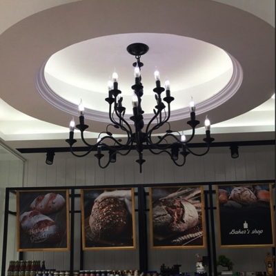 Curvy Arm Pendant Chandelier Traditional Metal 10/12/16 Bulbs Suspended Lighting Fixture in Black