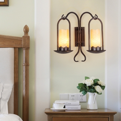 Cylinder Hallway Wall Lighting Vintage Style Marble 1/2-Head Black Finish Sconce Lamp with Curved Arm