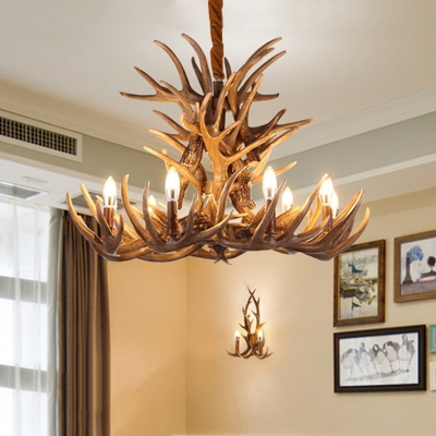 Deer Antler Chandelier Lamp Rustic 9/12 Heads Resin Ceiling Hanging Light in Brown, 21.5