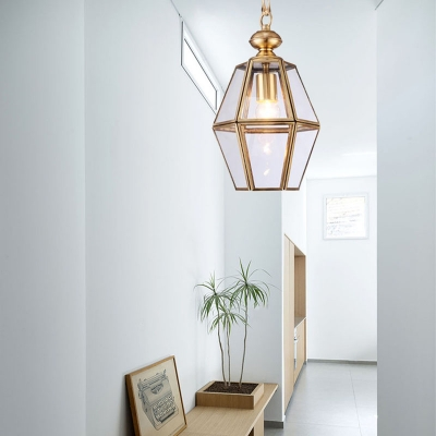 Faceted Clear/Yellow Glass Ceiling Light Colonial 1 Bulb Dining Table Pendant Lamp