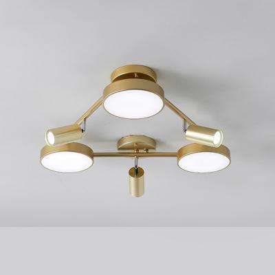 Gold Triangle Ceiling Lamp Postmodern Metal 6 Lights Flush Mount Lighting for Bedroom