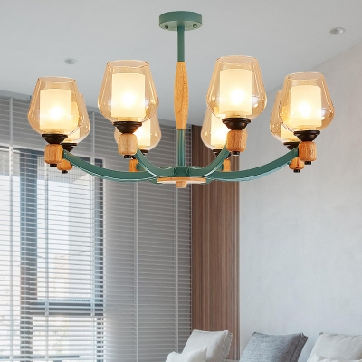 Grey/Green Cup Shape Chandelier Lighting Modernist 8 Lights Dimpled Blown Glass Pendant Ceiling Lamp