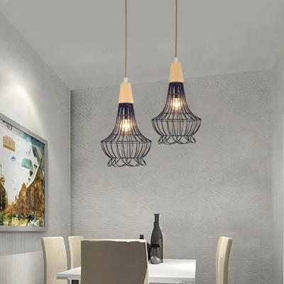 Industrial Urn/Diamond/Pumpkin Pendant Lighting Fixture 1 Light Metal Ceiling Suspension Lamp in Black for Kitchen