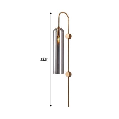 Minimalist Tubular Wall Lighting Smoke Glass 1 Bulb Living Room Sconce Light Fixture