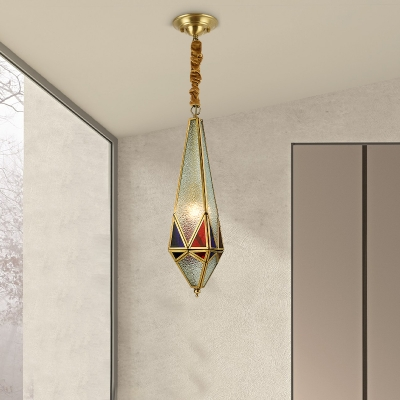 Red Geometric Hanging Light Kit Colonial Seedy Glass 1 Light Hallway Ceiling Pendant