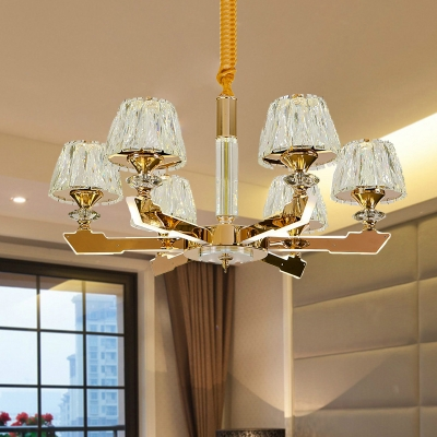 Sputnik Crystal Block Suspension Light Postmodern 6/8/12 Heads Living Room Hanging Chandelier in Gold, HL580837