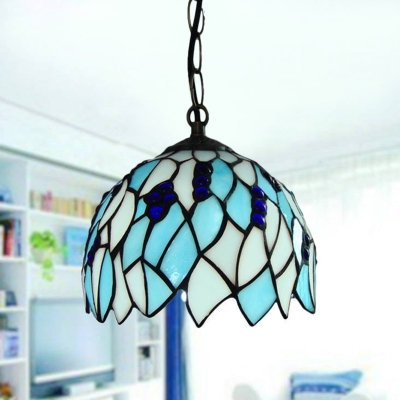 Stained Glass Blue Drop Pendant Dome 1 Light Baroque Stylish Hanging Ceiling Light for Bedroom, HL580814