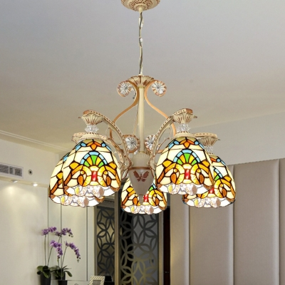 Tiffany Flower Chandelier Light Fixture 3/5 Lights Stained Glass Hanging Lamp Kit in Brown
