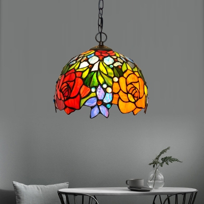 Victorian Flower Pendant Chandelier 1/2/3 Heads // Wide Red Cut Glass Hanging Light Fixture for Dining Room, HL583924