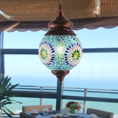 Vintage Sphere Hanging Pendant 1 Head Blue Glass Suspended Lighting Fixture for Restaurant