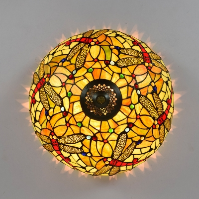 3 Heads Ceiling Lighting Tiffany Dragonfly Handcrafted Art Glass Flush Light Fixture in Bronze