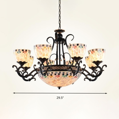 Black Dome Chandelier Light Fixture Tiffany 3/5/9 Bulbs Hand Rolled Art Glass Pendant Light Kit for Bedroom