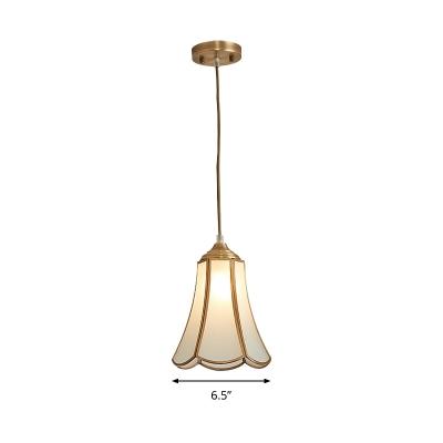 Bloom White Glass Suspension Light Traditional 1 Bulb Kitchen Island Pendant Lamp