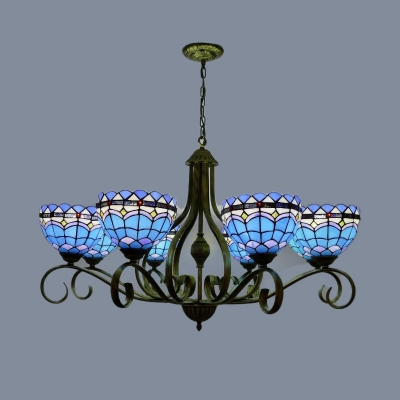 Blue Domed Chandelier Pendant Light Mediterranean 3/6/8 Lights Stained Glass Hanging Lamp, 25.5