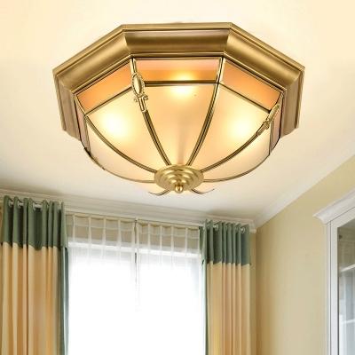 Bowl Living Room Flush Mount Fixture Retro Metal 3/4/6 Lights Brass Ceiling Mounted Light, 14