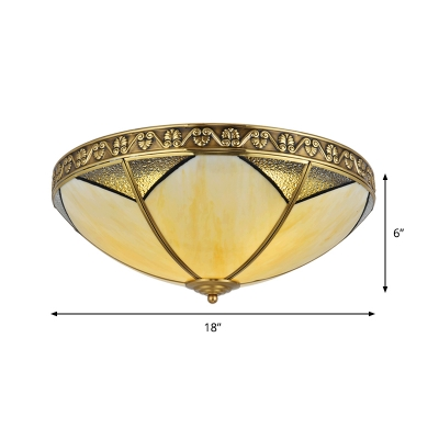 Brass 3 Heads Flush Mount Lamp Traditionalism Sandblasted Glass Dome Ceiling Fixture for Bedroom