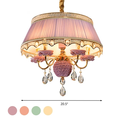 Candelabra Pendant Light Fixture Modernism Fabric 5 Heads Purple/Pink/Blue Chandelier Lighting Fixture