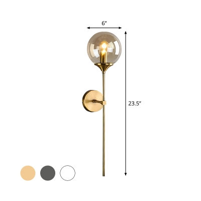 Contemporary Sphere Wall Lighting Clear/Smoke/Amber Glass 1 Head Living Room Sconce Light Fixture