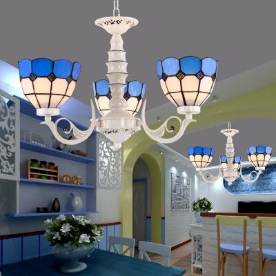 Cut Glass Bowl Chandelier Lamp Tiffany-Style 3/5/6 Lights White Pendant Ceiling Light for Living Room