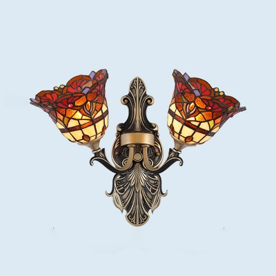 Flower Wall Mounted Light Fixture Mediterranean Style Stained Art Glass 2 Lights White/Red Sconce for Bedroom, Blue;orange;red;white;rose red;yellow, HL581671