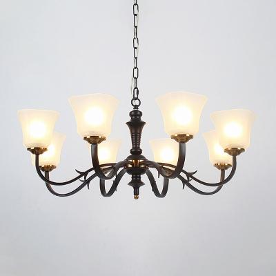 Frosted Glass Black Hanging Chandelier Flared 3/4/6 Lights Vintage Down Lighting Pendant for Living Room