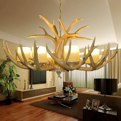 Frosted Glass Brown Chandelier Lighting Cylinder 8 Bulbs Cottage Suspension Pendant Light