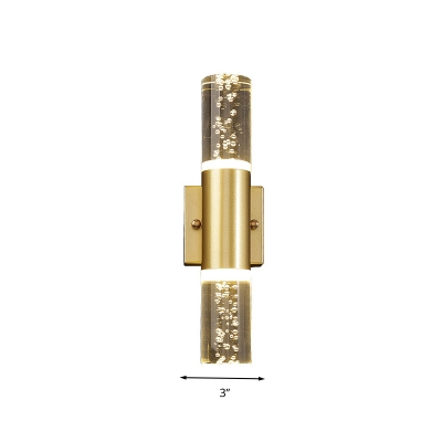 Gold Cylinder Wall Mount Light Fixture Simple Bubble Crystal 1/2/3 Heads Living Room LED Wall Sconce Lighting
