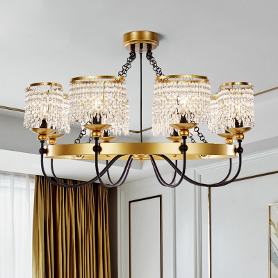 Gold Drum Chandelier Traditional-Style Crystal 6/8 Lights Living Room Ceiling Hang Fixture
