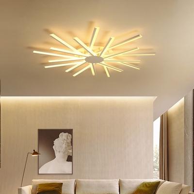 Linear Acrylic Semi Flush Mount Lighting Modernism White 31.5