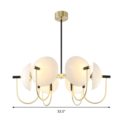 Opal Glass Dome Pendant Chandelier Modernism 3/6 Bulbs Ceiling Suspension Lamp in Black-Gold