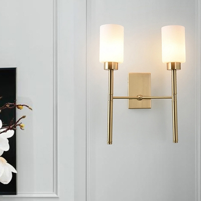 Pencil Arm Wall Lighting Contemporary Metal 2 Heads Sconce Light Fixture in Brass