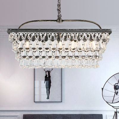 Rectangle Living Room Hanging Lamp Kit Traditional Teardrop Crystal 4/6 Heads Silver Chandelier Lighting HL577973 фото