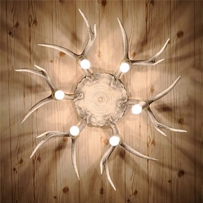 Resin Brown Flushmount Antler 6/8 Heads Traditionary Ceiling Light Fixture for Dining Room
