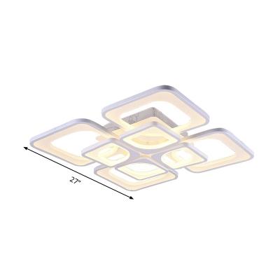 Square Flush Mount Lighting Modernism Acrylic White 23.5