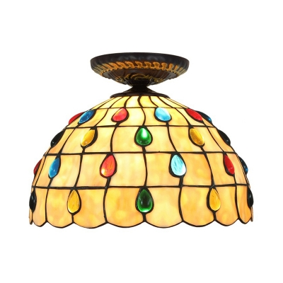 Stained Glass Beaded Ceiling Fixture Tiffany Single Head Bronze Flush Mount Light, 7.5
