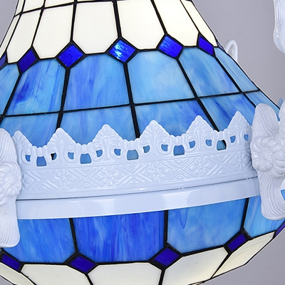 Stained Glass White Chandelier Light Dome 13 Lights Baroque Suspension Pendant for Bedroom