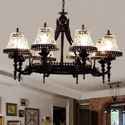 Tapered Clear/Red Glass Chandelier Lighting Tiffany 8 Lights Black Pendant Light Fixture for Living Room