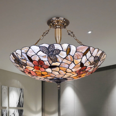 Tiffany Butterfly Semi Flush Lighting 3/4 Lights Shell Ceiling Light Fixture in Silver for Bedroom